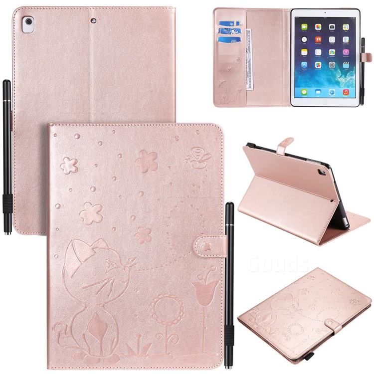Embossing Bee and Cat Leather Flip Cover for iPad Air 2 iPad6 - Rose Gold