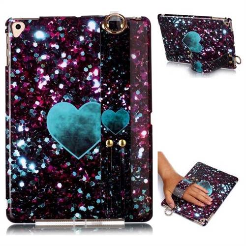 Glitter Green Heart Marble Clear Bumper Glossy Rubber Silicone Wrist Band Tablet Stand Holder Cover for iPad 9.7 2017 9.7 inch
