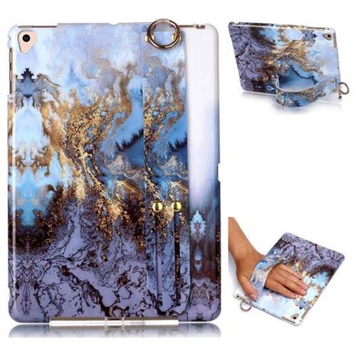 Sea Blue Marble Clear Bumper Glossy Rubber Silicone Wrist Band Tablet Stand Holder Cover for iPad 9.7 2017 9.7 inch