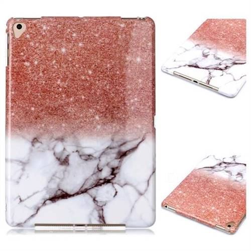 Glittering Rose Gold Marble Clear Bumper Glossy Rubber Silicone Phone Case for iPad 9.7 2017 9.7 inch