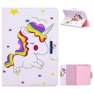 Rainbow Unicorn Folio Flip Stand Leather Wallet Case for iPad 9.7 2017 9.7 inch
