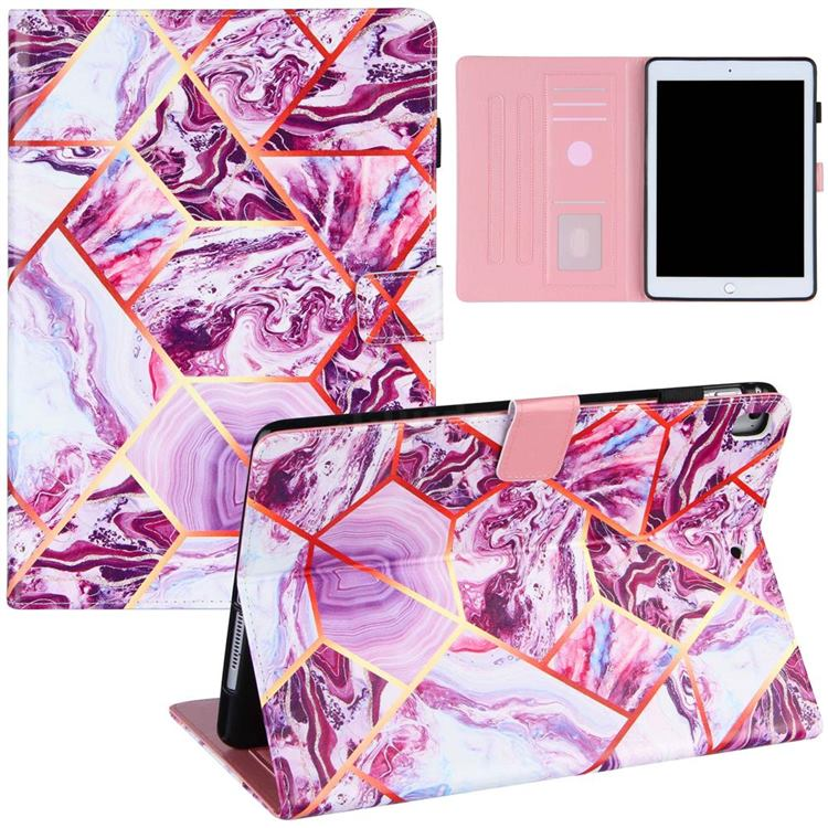 Dream Purple Stitching Color Marble Leather Flip Cover for Apple iPad 9.7 2017 9.7 inch