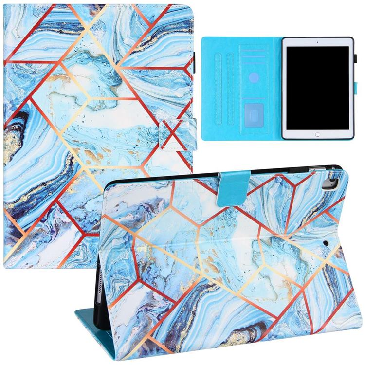 Lake Blue Stitching Color Marble Leather Flip Cover for Apple iPad 9.7 2017 9.7 inch