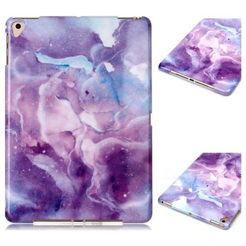 Dream Purple Marble Clear Bumper Glossy Rubber Silicone Phone Case for Apple iPad 9.7 (2018)