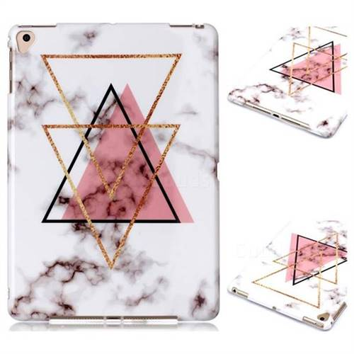 Inverted Triangle Powder Marble Clear Bumper Glossy Rubber Silicone Phone Case for Apple iPad 9.7 (2018)
