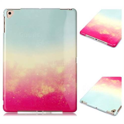 Sunset Glow Marble Clear Bumper Glossy Rubber Silicone Phone Case for Apple iPad 9.7 (2018)