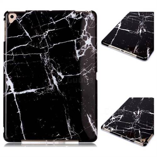 Black Stone Marble Clear Bumper Glossy Rubber Silicone Phone Case for Apple iPad 9.7 (2018)