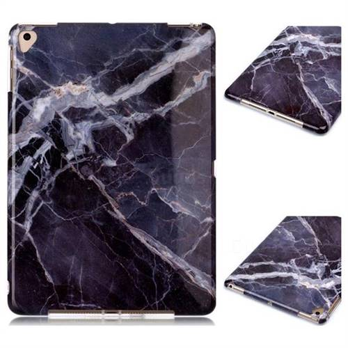 Gray Stone Marble Clear Bumper Glossy Rubber Silicone Phone Case for Apple iPad 9.7 (2018)
