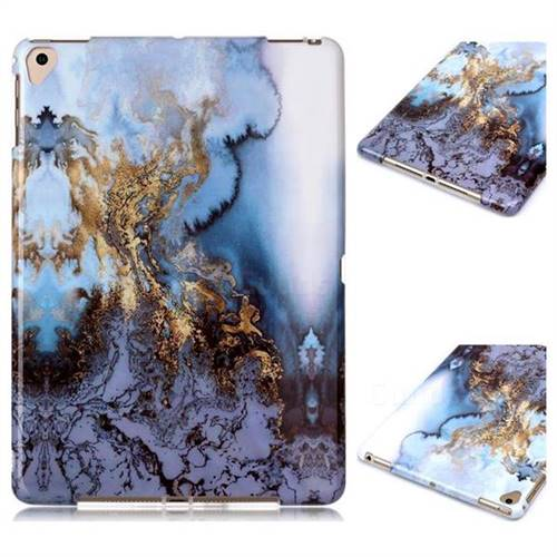 Sea Blue Marble Clear Bumper Glossy Rubber Silicone Phone Case for Apple iPad 9.7 (2018)