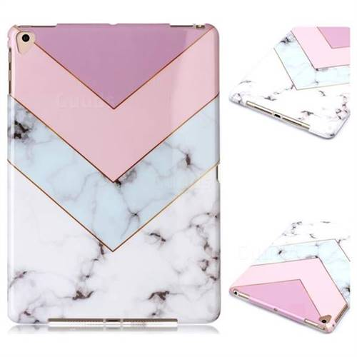 Stitching Pink Marble Clear Bumper Glossy Rubber Silicone Phone Case for Apple iPad 9.7 (2018)
