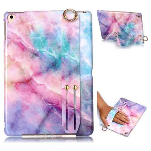 Dream Green Marble Clear Bumper Glossy Rubber Silicone Wrist Band Tablet Stand Holder Cover for Apple iPad 9.7 (2018)