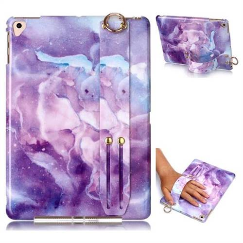 Dream Purple Marble Clear Bumper Glossy Rubber Silicone Wrist Band Tablet Stand Holder Cover for Apple iPad 9.7 (2018)