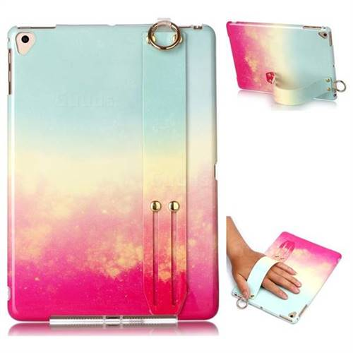 Sunset Glow Marble Clear Bumper Glossy Rubber Silicone Wrist Band Tablet Stand Holder Cover for Apple iPad 9.7 (2018)