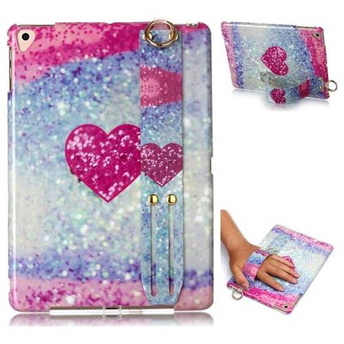 Glitter Rose Heart Marble Clear Bumper Glossy Rubber Silicone Wrist Band Tablet Stand Holder Cover for Apple iPad 9.7 (2018)