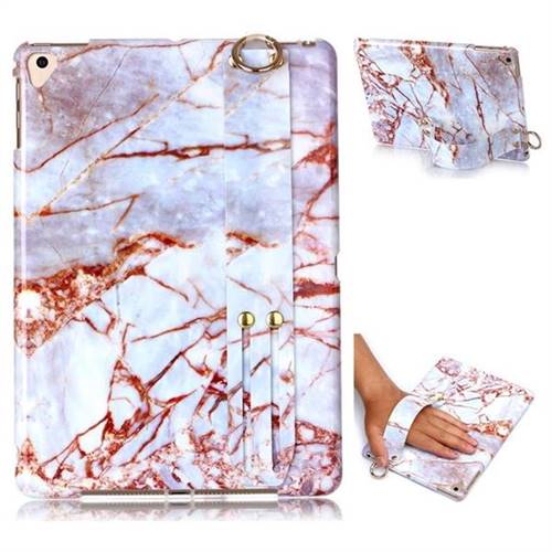 White Stone Marble Clear Bumper Glossy Rubber Silicone Wrist Band Tablet Stand Holder Cover for Apple iPad 9.7 (2018)