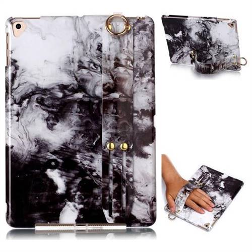 Smoke Ink Painting Marble Clear Bumper Glossy Rubber Silicone Wrist Band Tablet Stand Holder Cover for Apple iPad 9.7 (2018)