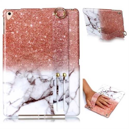 Glittering Rose Gold Marble Clear Bumper Glossy Rubber Silicone Wrist Band Tablet Stand Holder Cover for Apple iPad 9.7 (2018)