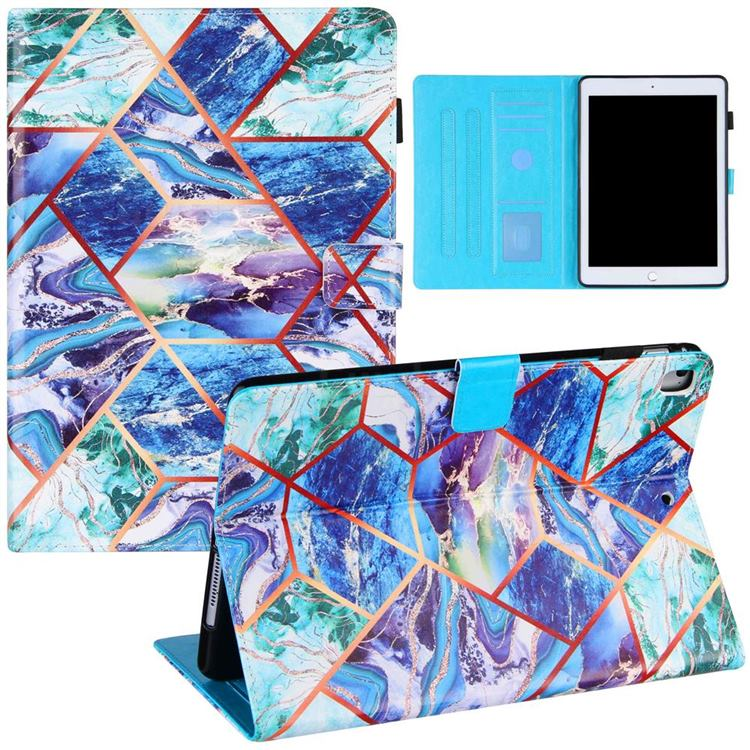 Green and Blue Stitching Color Marble Leather Flip Cover for Apple iPad 9.7 (2018)