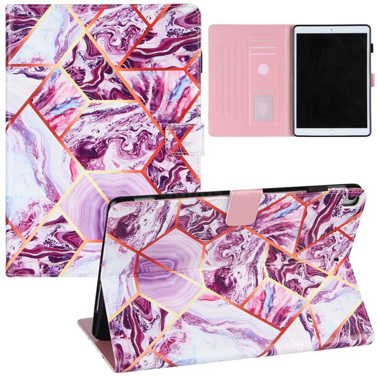 Dream Purple Stitching Color Marble Leather Flip Cover for Apple iPad Air (3rd Gen) 10.5 2019