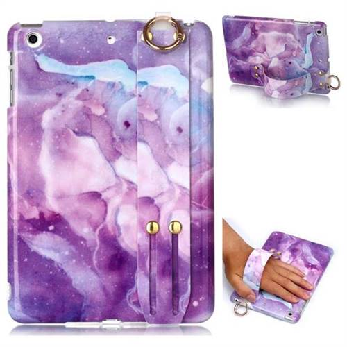Dream Purple Marble Clear Bumper Glossy Rubber Silicone Wrist Band Tablet Stand Holder Cover for iPad Mini 1 2 3