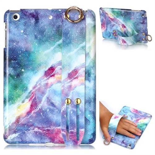 Blue Starry Sky Marble Clear Bumper Glossy Rubber Silicone Wrist Band Tablet Stand Holder Cover for iPad Mini 1 2 3