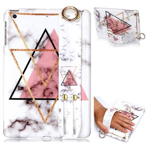 Inverted Triangle Powder Marble Clear Bumper Glossy Rubber Silicone Wrist Band Tablet Stand Holder Cover for iPad Mini 1 2 3