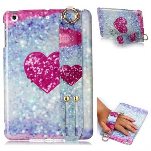 Glitter Rose Heart Marble Clear Bumper Glossy Rubber Silicone Wrist Band Tablet Stand Holder Cover for iPad Mini 1 2 3