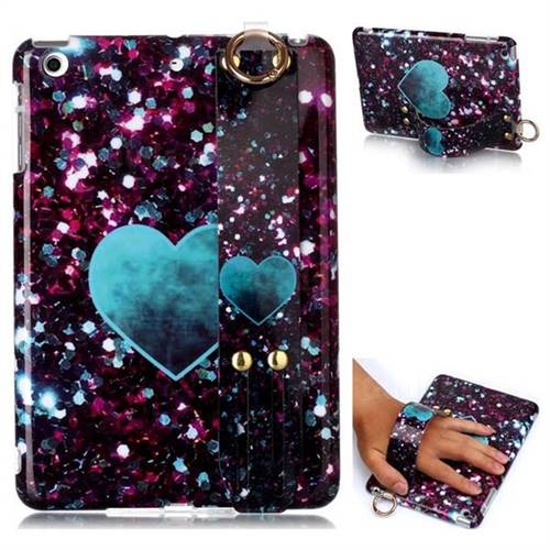 Glitter Green Heart Marble Clear Bumper Glossy Rubber Silicone Wrist Band Tablet Stand Holder Cover for iPad Mini 1 2 3