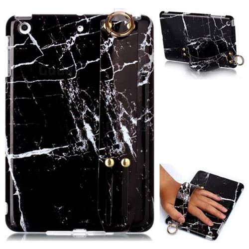 Black Stone Marble Clear Bumper Glossy Rubber Silicone Wrist Band Tablet Stand Holder Cover for iPad Mini 1 2 3