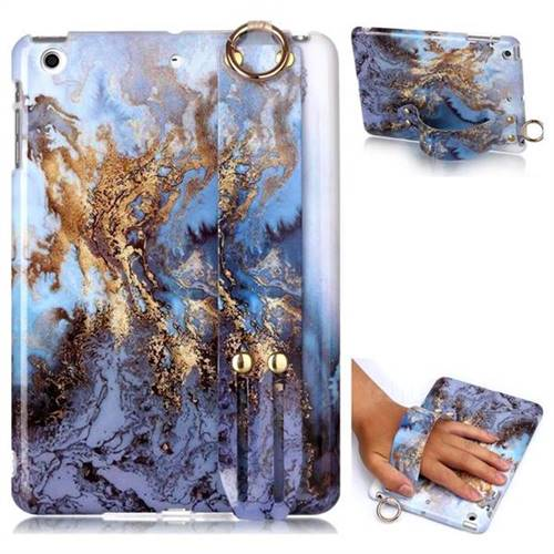 Sea Blue Marble Clear Bumper Glossy Rubber Silicone Wrist Band Tablet Stand Holder Cover for iPad Mini 1 2 3