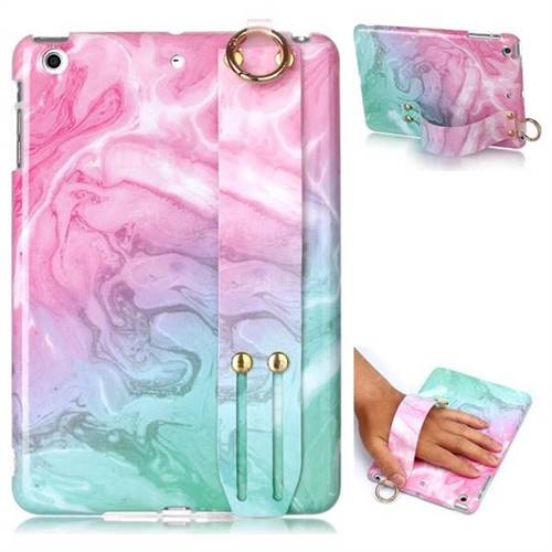 Pink Green Marble Clear Bumper Glossy Rubber Silicone Wrist Band Tablet Stand Holder Cover for iPad Mini 1 2 3
