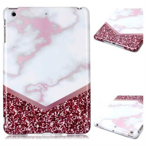Stitching Rose Marble Clear Bumper Glossy Rubber Silicone Phone Case for iPad Mini 1 2 3