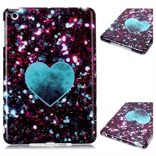 Glitter Green Heart Marble Clear Bumper Glossy Rubber Silicone Phone Case for iPad Mini 1 2 3