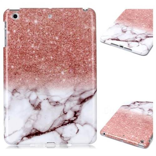 Glittering Rose Gold Marble Clear Bumper Glossy Rubber Silicone Phone Case for iPad Mini 1 2 3