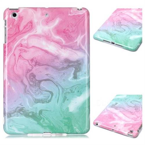 Pink Green Marble Clear Bumper Glossy Rubber Silicone Phone Case for iPad Mini 1 2 3