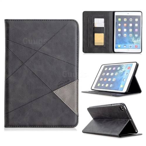 Binfen Color Prismatic Slim Magnetic Sucking Stitching Wallet Flip Cover for iPad Mini 1 2 3 - Black