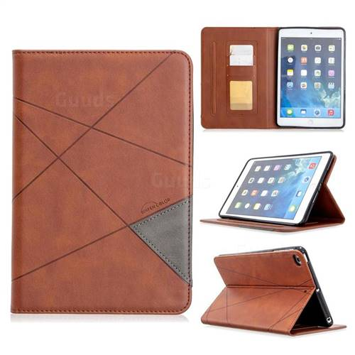 Binfen Color Prismatic Slim Magnetic Sucking Stitching Wallet Flip Cover for iPad Mini 1 2 3 - Brown
