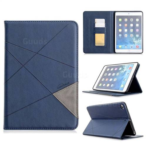Binfen Color Prismatic Slim Magnetic Sucking Stitching Wallet Flip Cover for iPad Mini 1 2 3 - Blue