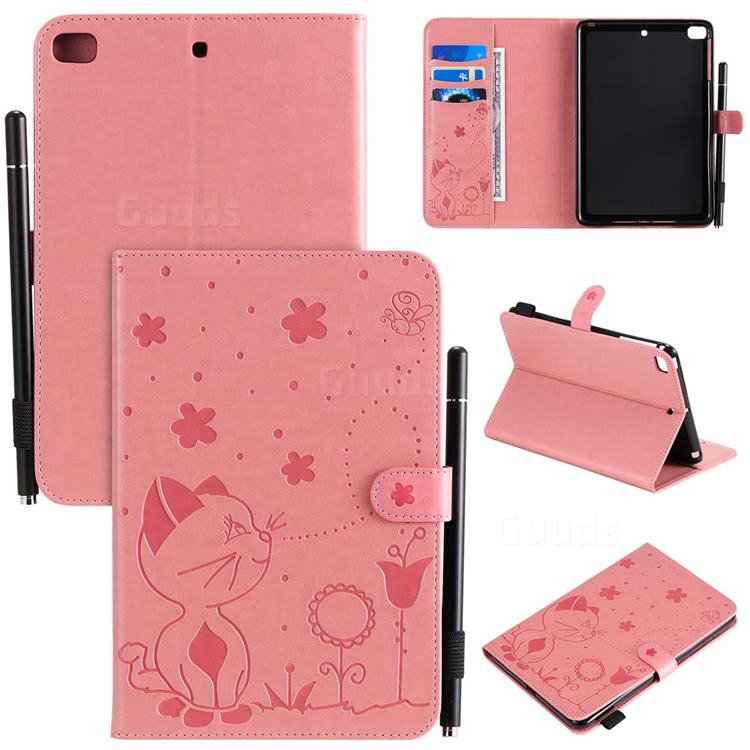 Embossing Bee and Cat Leather Flip Cover for iPad Mini 1 2 3 - Pink
