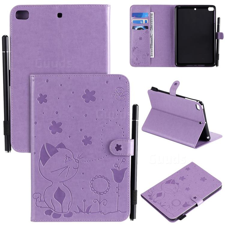 Embossing Bee and Cat Leather Flip Cover for iPad Mini 1 2 3 - Purple