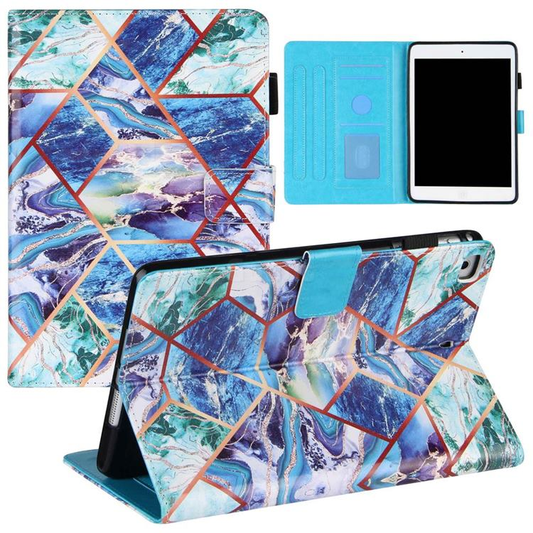 Green and Blue Stitching Color Marble Leather Flip Cover for Apple iPad Mini 1 2 3