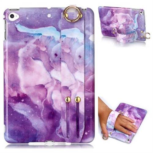 Dream Purple Marble Clear Bumper Glossy Rubber Silicone Wrist Band Tablet Stand Holder Cover for iPad Mini 4
