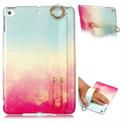 Sunset Glow Marble Clear Bumper Glossy Rubber Silicone Wrist Band Tablet Stand Holder Cover for iPad Mini 4