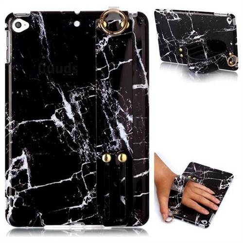 Black Stone Marble Clear Bumper Glossy Rubber Silicone Wrist Band Tablet Stand Holder Cover for iPad Mini 4