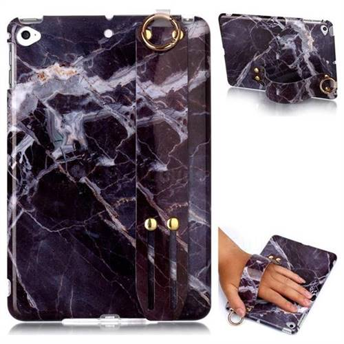 Gray Stone Marble Clear Bumper Glossy Rubber Silicone Wrist Band Tablet Stand Holder Cover for iPad Mini 4