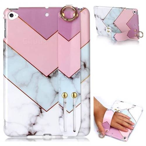 Stitching Pink Marble Clear Bumper Glossy Rubber Silicone Wrist Band Tablet Stand Holder Cover for iPad Mini 4