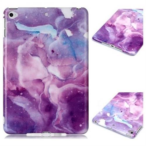 Dream Purple Marble Clear Bumper Glossy Rubber Silicone Phone Case for iPad Mini 4