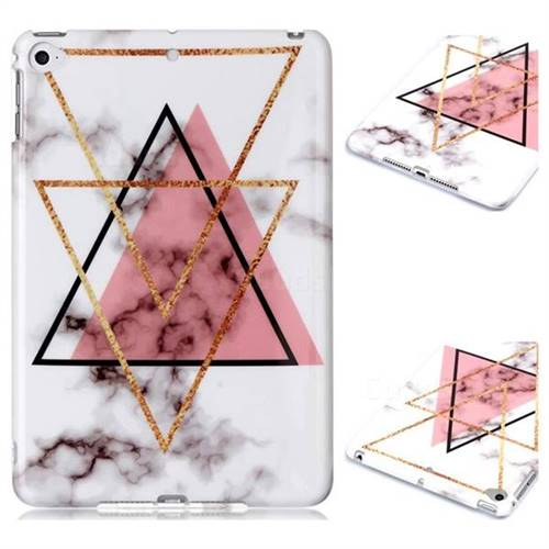 Inverted Triangle Powder Marble Clear Bumper Glossy Rubber Silicone Phone Case for iPad Mini 4