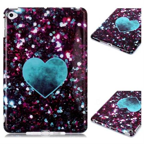 Glitter Green Heart Marble Clear Bumper Glossy Rubber Silicone Phone Case for iPad Mini 4