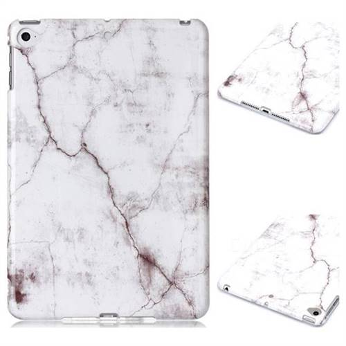 White Smooth Marble Clear Bumper Glossy Rubber Silicone Phone Case for iPad Mini 4